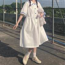 Dress Spring 2021 white S,M,L,XL Mid length dress singleton  Long sleeves commute High waist Solid color Socket A-line skirt routine 18-24 years old Type A More than 95% cotton