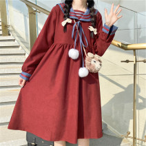 Dress Autumn 2020 Red, green, pink S,M,L,XL Mid length dress singleton  Long sleeves commute High waist Solid color Socket A-line skirt routine 18-24 years old Type A More than 95% cotton
