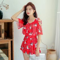 one piece  other XL [recommended 110-120 kg], l [recommended 95-110 kg], 2XL [recommended 120-140 kg], 4XL [recommended 155-175 kg], m [recommended 80-95 kg], 3XL [recommended 140-155 kg] Skirt one piece With chest pad without steel support polyester fiber female Short sleeve Casual swimsuit