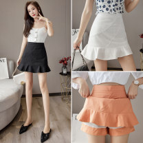skirt Summer 2021 S M L XL White black orange Short skirt commute High waist Ruffle Skirt Solid color Type A 25-29 years old FJN0315-127 More than 95% other Pink girl other Lotus leaf edge Korean version Other 100%
