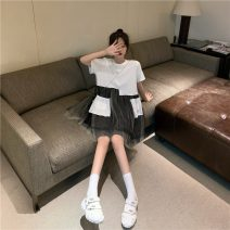 Dress Spring 2021 White black Average size Middle-skirt singleton  Short sleeve commute Crew neck Loose waist Solid color Socket Irregular skirt routine Others 18-24 years old Type A Absolute rich support Korean version Asymmetry More than 95% Lace other Other 100% Pure e-commerce (online only)