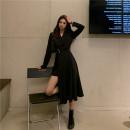 Dress Autumn 2020 black S,M,L longuette singleton  High waist Solid color A-line skirt Type A 51% (inclusive) - 70% (inclusive) other