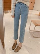 Jeans Autumn 2020 Denim pre-sale for about 15 days S/26,M/27,L/28,XL/29 Ninth pants High waist Straight pants routine 25-29 years old Cotton elastic denim light colour K0603 Other 96% and above