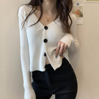 Wool knitwear Spring 2021 S,M,L Apricot, gray, white, purple, black, pink, water blue Long sleeves singleton  Cardigan other 51% (inclusive) - 70% (inclusive) have cash less than that is registered in the accounts routine commute Straight cylinder V-neck routine Solid color Single breasted zx-0.40