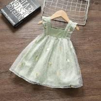 Dress green female Other / other Other 100.00% summer princess Skirt / vest Broken flowers other A-line skirt 12 months, 9 months, 18 months, 2 years, 3 years, 4 years