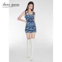 Dress Spring 2021 [spot] picture color [pre-sale 7-15 days] picture color 1 2 3 Short skirt singleton  Sleeveless street High waist Broken flowers straps 18-24 years old Type A Aimme sparrow More than 95% other other Other 100%