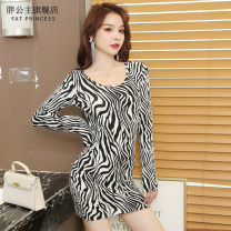 Dress Spring 2021 Zebra long sleeve L XL 2XL 3XL 4XL 5XL 6XL Middle-skirt singleton  Long sleeves commute Crew neck middle-waisted stripe Socket One pace skirt routine Others 18-24 years old Type H Fat Princess Korean version Splicing 9105 zebra 51% (inclusive) - 70% (inclusive) knitting cotton