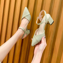 Sandals 34,35,36,37,38,39,40 Black, beige, light green Superfine fiber Other / other Baotou Thick heel High heel (5-8cm) Summer 2021 Flat buckle Light cooked Solid color Adhesive shoes Youth (18-40 years old) rubber daily Ankle strap Cross bandage Hollow Microfiber skin Microfiber skin Meini 7203-10