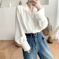 shirt White, blue S,M,L,XL Spring 2021 cotton 51% (inclusive) - 70% (inclusive) Long sleeves commute Regular Polo collar Single row multi button routine Solid color 18-24 years old Straight cylinder Korean version //L551 Pleats, buttons Chiffon
