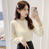 Lace / Chiffon Spring 2021 Apricot S,M,L,XL,2XL Long sleeves commute Socket singleton  Straight cylinder Regular stand collar Solid color pagoda sleeve 18-24 years old R123 Splicing Korean version 51% (inclusive) - 70% (inclusive) polyester fiber