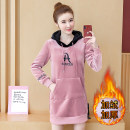 Sweater / sweater Winter 2020 Red Black Pink M L XL 2XL 3XL Long sleeves Medium length Socket singleton  Plush Hood easy commute routine letter 96% and above Suo Dixi Korean version other Drawstring Intradermal bile duct Other 100%