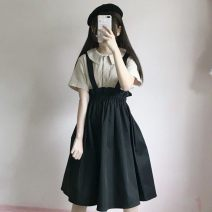 Dress Spring 2021 Black [top], black [skirt], apricot [top], yellow [skirt] S,M,L Mid length dress Two piece set Short sleeve Ruffle, fold, tuck