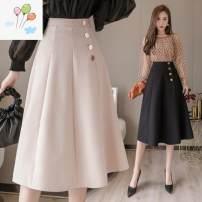 Dress Other / other Black, apricot S,M,L,XL,XXL Versatile Solid color polyester fiber 017-06
