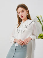 shirt Benbai 155/80A,160/84A,165/88A,170/92A Spring 2021 polyester fiber 71% (inclusive) - 80% (inclusive) Long sleeves Original design Regular Doll Collar Single row multi button routine Solid color 25-29 years old Straight cylinder thinking of an old acquaintance on seeing a familiar scene Button