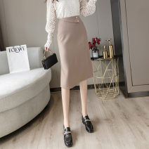 skirt Autumn 2020 One size fits all Apricot blue black Mid length dress commute High waist A-line skirt Solid color Type A 25-29 years old Knitted skirt Memory for clothes Simplicity Pure e-commerce (online only)