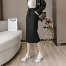 skirt Autumn 2020 black Mid length dress commute High waist skirt Solid color Type H 30-34 years old knitting Korean version Pure e-commerce (online only) 351g / m ^ 2 (including) - 400g / m ^ 2 (including)