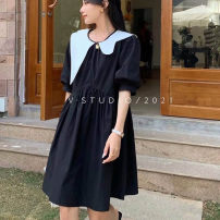 Dress Summer 2021 Black skirt Average size Short skirt singleton  Short sleeve commute Crew neck High waist Solid color Socket A-line skirt puff sleeve Others 25-29 years old Type A Korean version Splicing, resin fixation, folding 71% (inclusive) - 80% (inclusive) brocade polyester fiber