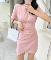 Dress Summer 2021 Gray, yellow, black, pink Average size Short skirt singleton  Short sleeve commute Crew neck High waist Solid color Socket A-line skirt puff sleeve Others 25-29 years old Type H Korean version Old, zipper More than 95% brocade cotton
