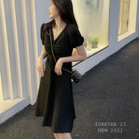 Dress Summer 2021 Black, light yellow Average size Middle-skirt singleton  Short sleeve commute V-neck High waist Solid color zipper A-line skirt puff sleeve Others 25-29 years old Type H Korean version Fold, fungus, zipper 51% (inclusive) - 70% (inclusive) brocade polyester fiber