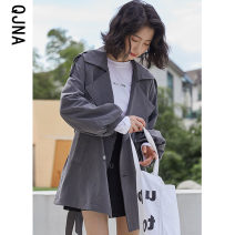 Windbreaker Winter 2020 S M L Grey black Long sleeves routine Medium length commute double-breasted tailored collar bishop sleeve Solid color Straight cylinder Korean version Qingjiaona QJN8841 18-24 years old Button 96% and above other Other 100% Pure e-commerce (online only)
