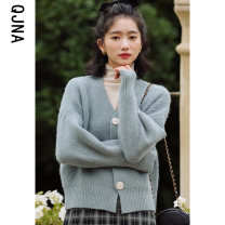 short coat Winter 2020 S M L Green blue Long sleeves routine routine singleton  Straight cylinder commute routine V-neck Single breasted Solid color 18-24 years old Qingjiaona 96% and above Button QJN7231 other Other 100% Pure e-commerce (online only)