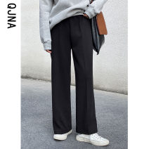 Casual pants Grey black Average size Winter 2020 trousers Straight pants High waist commute routine 18-24 years old 96% and above QJN2635 Qingjiaona Korean version Other 100% Pure e-commerce (online only)