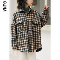 woolen coat Winter 2020 S M L Black light grey other 95% and above routine Long sleeves commute Single breasted routine Polo collar lattice Straight cylinder Korean version QJN6103 Qingjiaona 18-24 years old Button Solid color Other 100% Pure e-commerce (online only)
