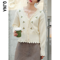 short coat Winter 2020 S M L Milky blue Long sleeves have cash less than that is registered in the accounts routine singleton  High waist type commute routine V-neck Single breasted Plants and flowers 18-24 years old Qingjiaona 96% and above Embroidery QJN5648 other Other 100%