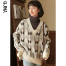 sweater Winter 2020 S M L Coffee white Long sleeves Socket singleton  Regular other 95% and above V-neck Regular commute routine diamond Straight cylinder Regular wool Keep warm and warm 18-24 years old Qingjiaona Other 100% Pure e-commerce (online only)