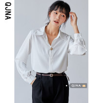 shirt white S M L XL Spring 2021 other 96% and above Long sleeves commute Regular Polo collar Single row multi button shirt sleeve Solid color 18-24 years old Straight cylinder Qingjiaona Korean version QJN6061 Button Other 100% Pure e-commerce (online only)