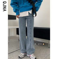Jeans Spring 2021 Wash light blue S M L trousers Natural waist Wide legged trousers routine 18-24 years old Embroidery Cotton denim light colour QJN8862 Qingjiaona 96% and above Other 100% Pure e-commerce (online only)