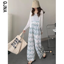 Casual pants Bean green girl pink sky blue S M L Spring 2021 trousers Wide leg pants High waist commute Thin money 18-24 years old 96% and above QJN9406 Qingjiaona Korean version Other 100% Pure e-commerce (online only)