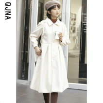 woolen coat Winter 2020 S M L Oatmeal green other 95% and above Medium length Long sleeves commute Single breasted raglan sleeve Polo collar Solid color High waist type Korean version QJN0955 Qingjiaona 18-24 years old Button Solid color Other 100% Pure e-commerce (online only)