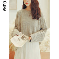 sweater Winter 2020 S M L Light grey dark blue Long sleeves Socket singleton  Regular other 95% and above Crew neck thickening commute raglan sleeve Solid color Straight cylinder Regular wool Keep warm and warm 18-24 years old Qingjiaona QJN6468 Other 100% Pure e-commerce (online only)