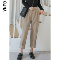 Casual pants khaki S M L Winter 2020 trousers loose  Natural waist commute routine 18-24 years old 96% and above QJN8540 Qingjiaona Korean version Button Other 100% Pure e-commerce (online only)