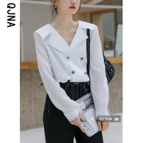 shirt White dark army green S M L Spring 2021 other 96% and above Long sleeves commute Regular V-neck Single row multi button routine Solid color 18-24 years old Self cultivation Qingjiaona Korean version QJN3581 Other 100% Pure e-commerce (online only)