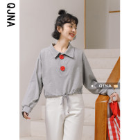 T-shirt grey S M L Spring 2021 Long sleeves Polo collar easy Regular routine commute cotton 96% and above 18-24 years old Korean version other Solid color Qingjiaona Button Cotton 100% Pure e-commerce (online only)