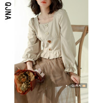 shirt khaki S M L Spring 2021 other 96% and above Long sleeves commute Short style (40cm < length ≤ 50cm) square neck Socket pagoda sleeve Solid color 18-24 years old Self cultivation Qingjiaona Korean version QJN9553 Other 100% Pure e-commerce (online only)