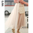 skirt Spring 2021 S M L Apricot longuette Versatile High waist A-line skirt Solid color Type A 18-24 years old QJN8191 More than 95% other Qingjiaona other Other 100% Pure e-commerce (online only)