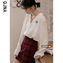 shirt white S M L Spring 2021 other 96% and above Long sleeves commute Regular tailored collar Single row multi button shirt sleeve other 18-24 years old Straight cylinder Qingjiaona Korean version QJN9633 Other 100% Pure e-commerce (online only)