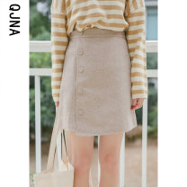 skirt Winter 2020 S M L Grey apricot shallow card Miniskirt commute Natural waist A-line skirt Solid color Type A 18-24 years old QJN816 More than 95% Wool Qingjiaona other Button Korean version Other 100% Pure e-commerce (online only)