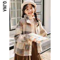 woolen coat Winter 2020 S M L Khaki blue other 95% and above routine Long sleeves commute Single breasted routine Polo collar lattice Straight cylinder Korean version QJN9161 Qingjiaona 18-24 years old Pocket button Solid color Other 100% Pure e-commerce (online only)