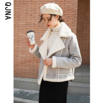 short coat Winter 2020 S M L Blue Pink Long sleeves have cash less than that is registered in the accounts thickening singleton  Straight cylinder commute routine tailored collar double-breasted Solid color 18-24 years old Qingjiaona 96% and above QJN6198 other Other 100%