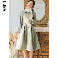 woolen coat Winter 2020 S M L Green (thickened cotton) other 95% and above Medium length Long sleeves commute Single breasted routine Polo collar Solid color Self cultivation Korean version QJN9070 Qingjiaona 18-24 years old Button Solid color Other 100% Pure e-commerce (online only)