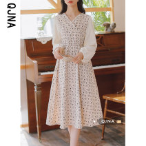 Dress Spring 2021 Apricot Navy S M L Mid length dress singleton  Long sleeves commute V-neck High waist Decor Socket A-line skirt bishop sleeve 18-24 years old Type A Qingjiaona Retro QJNY1311 More than 95% other Other 100% Pure e-commerce (online only)