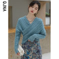 sweater Winter 2020 S M L Lake light blue off white Long sleeves Socket singleton  Regular other 95% and above V-neck thickening Sweet routine Solid color Self cultivation Coarse wool Keep warm and warm 18-24 years old Qingjiaona QJN3521 Other 100% Pure e-commerce (online only)