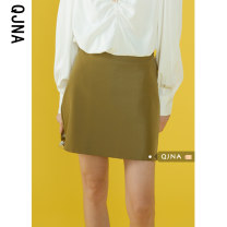 skirt Spring 2021 S M L green Short skirt Versatile High waist A-line skirt Solid color 18-24 years old QJN8618 More than 95% other Qingjiaona other Other 100% Pure e-commerce (online only)