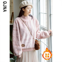 Sweater / sweater Winter 2020 Apricot Pink S M L Long sleeves routine Socket singleton  thickening Half high collar easy commute bishop sleeve Solid color 18-24 years old 96% and above Qingjiaona Korean version other Sticking cloth Other 100% Pure e-commerce (online only)