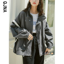 short coat Spring 2021 S M L Grey Khaki Long sleeves routine routine singleton  Straight cylinder Bat sleeve stand collar zipper 18-24 years old Qingjiaona 96% and above QJN3381 other Other 100% Pure e-commerce (online only)