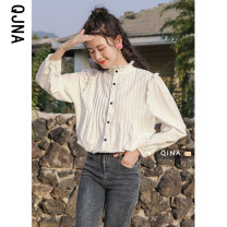 shirt white S M L Spring 2021 other 96% and above Long sleeves commute Regular stand collar Single row multi button routine Solid color 18-24 years old Straight cylinder Qingjiaona Korean version QJN8048 Button Other 100% Pure e-commerce (online only)
